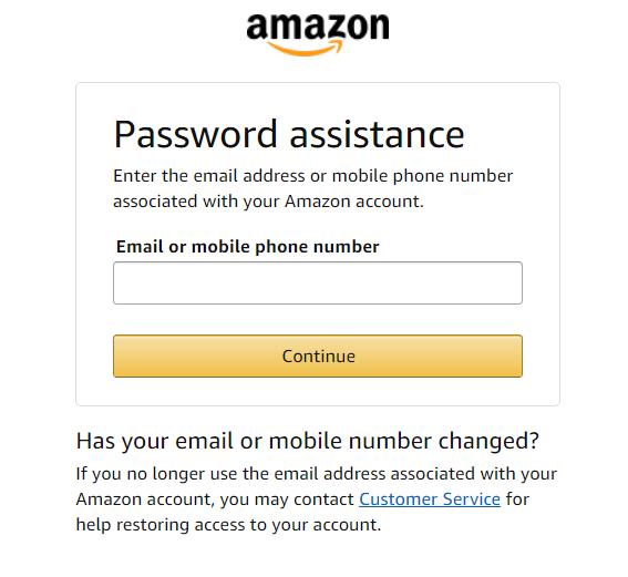 amazon password assistance