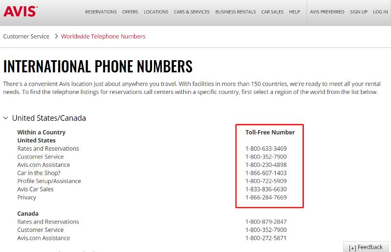 avis phone number