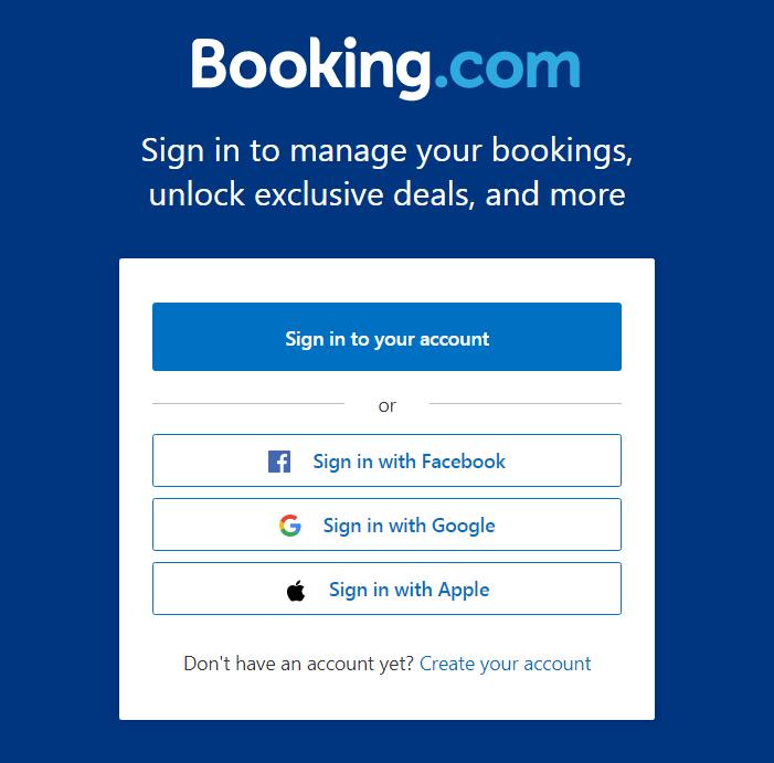 booking.com login