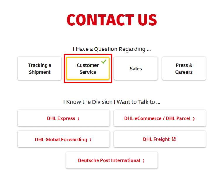 dhl customer service