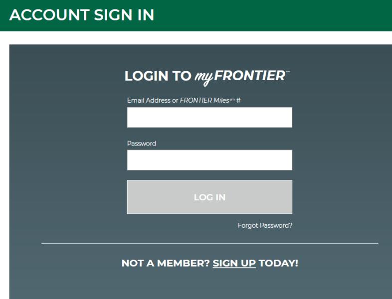 frontier airlines login