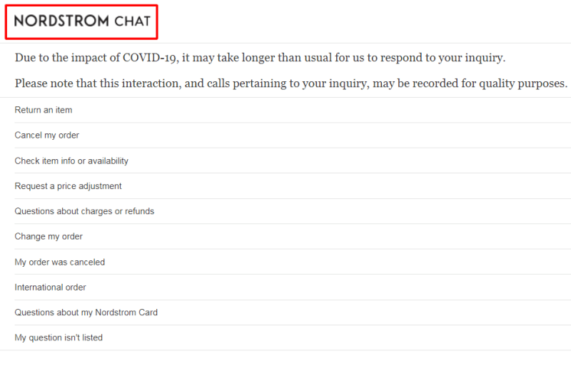nordstrom live chat support