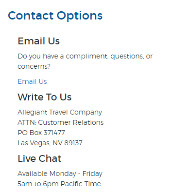 allegiant air customer service