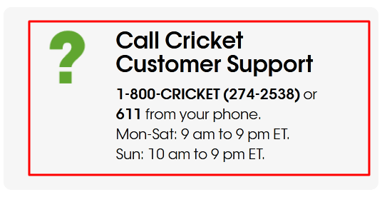 cricket wireless phone number
