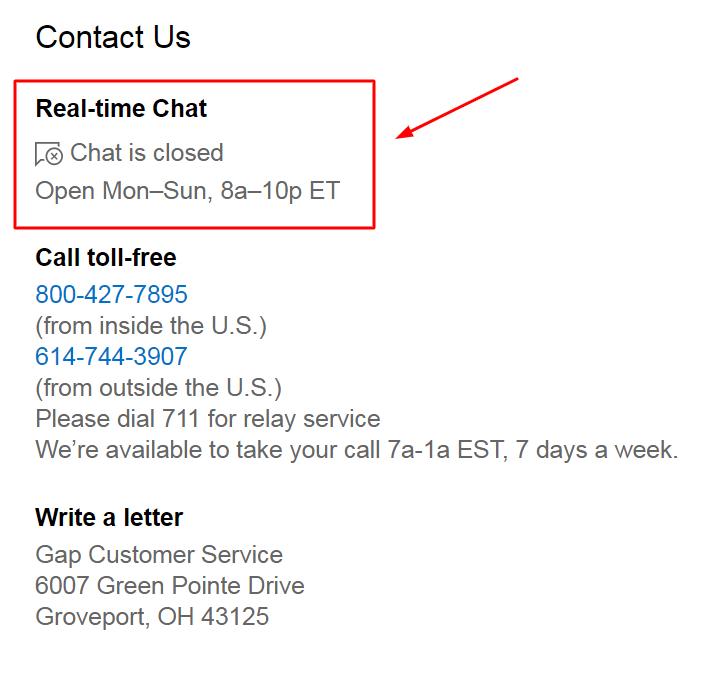 gap live chat