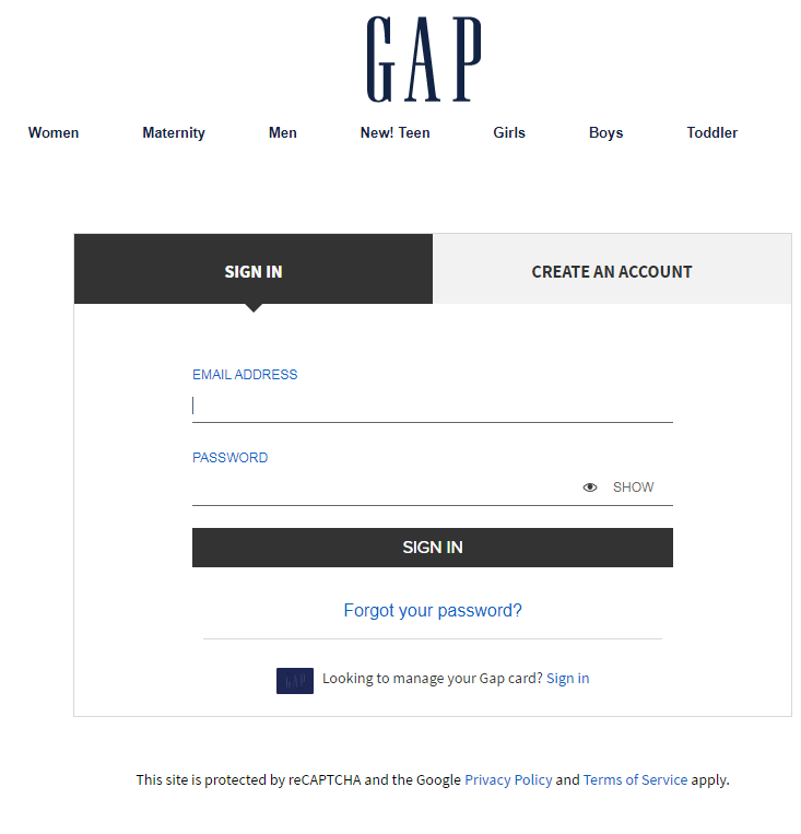 gap login