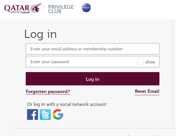 qatar airways login