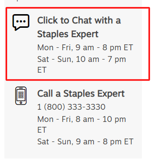 staples live chat