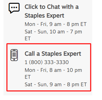 staples phone number