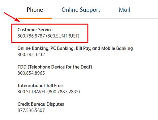 suntrust phone number
