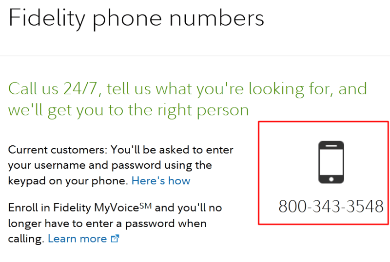 fidelity phone number