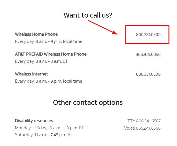 att phone number