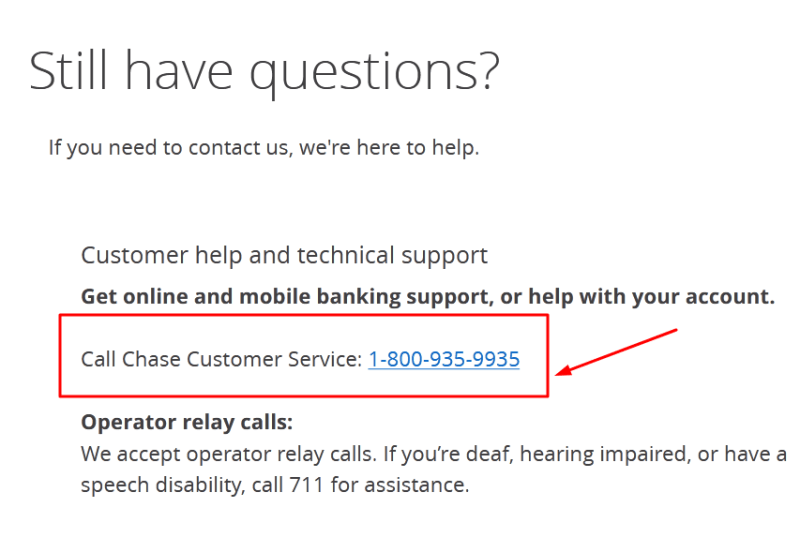 chase bank phone number