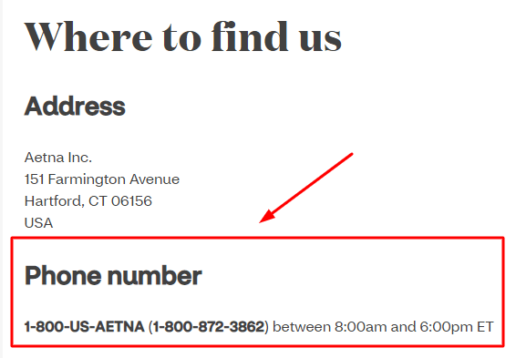 aetna phone number